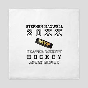 Hockey Puck MVP Name Team Queen Duvet