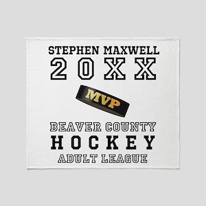 Hockey Puck MVP Name Team Throw Blanket