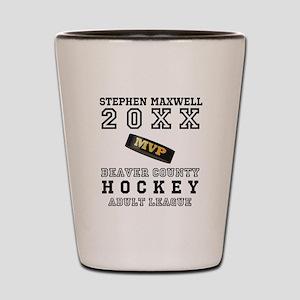 Hockey Puck MVP Name Team Shot Glass