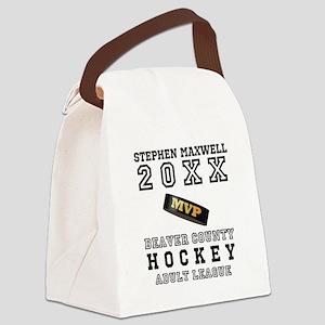 Hockey Puck MVP Name Team Canvas Lunch Bag