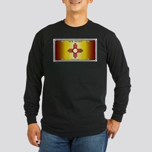 New Mexico Flag License Plate Long Sleeve T-Shirt