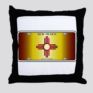 New Mexico Flag License Plate Throw Pillow
