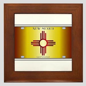 New Mexico Flag License Plate Framed Tile