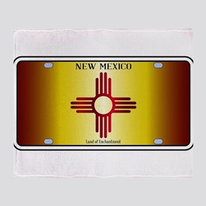 New Mexico Flag License Plate Throw Blanket
