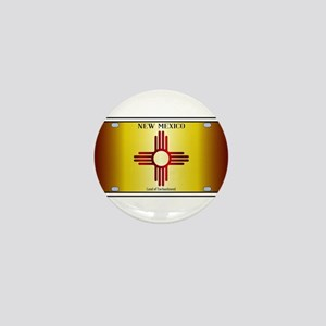 New Mexico Flag License Plate Mini Button