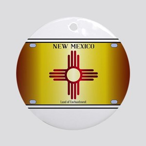 New Mexico Flag License Plate Round Ornament