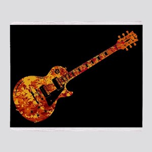 Electric Guitar Flames Throw Blanket
