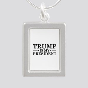 Trump Is My President Silver Portrait Necklace