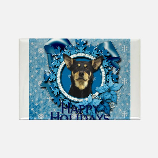 Blue_Snowflake_Australian_Kelpie_Sq Magnets