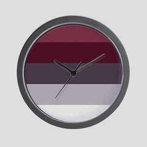 Plum Burgundy Grey Stripes Wall Clock