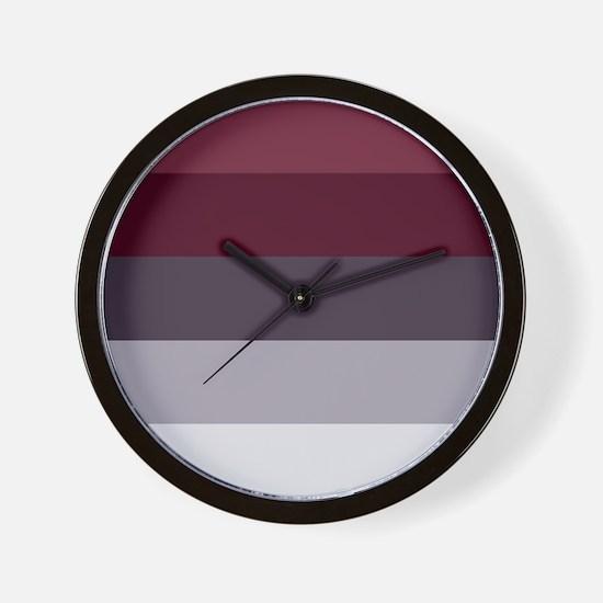 Plum Burgundy Grey Stripes Wall Clock