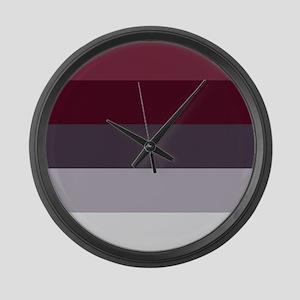 Plum Burgundy Grey Stripes Large Wall Clock