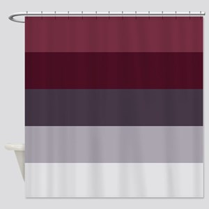Plum Burgundy Grey Stripes Shower Curtain