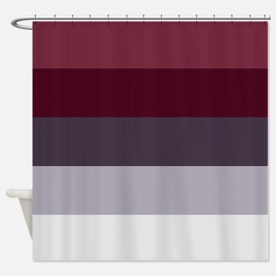 Plum Burgundy Grey Stripes Shower Curtain