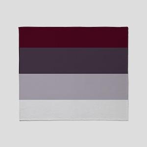 Plum Burgundy Grey Stripes Throw Blanket