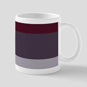 Plum Burgundy Grey Stripes Mugs