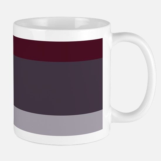 Plum Burgundy Grey Stripes Mugs