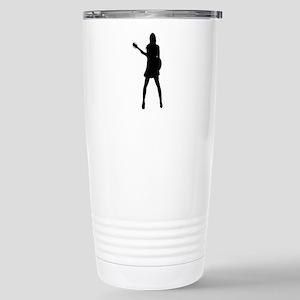 Girl Musician Silhouett Stainless Steel Travel Mug