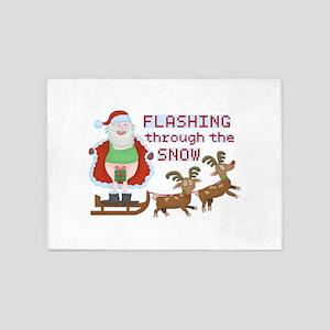 Funny Christmas Santa Claus Flashing Thru Snow 5'x
