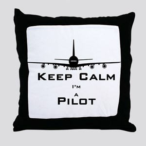 Keep Calm I'm A Pilot Throw Pillow