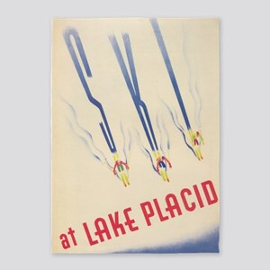 Ski At Lake Placid Vintage Travel 5'x7'are