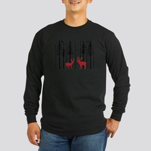 Reindeer in fir tree forest Long Sleeve T-Shirt
