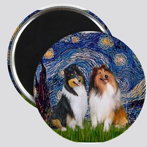 Starry Night / Collie pair Magnets