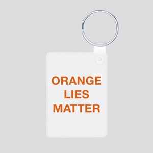 Orange Lies Matter Aluminum Photo Keychain