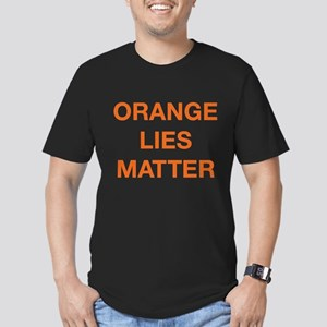 Orange Lies Matter Men's Fitted T-Shirt (dark)