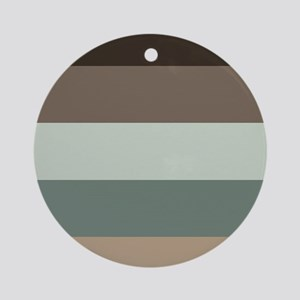 Sage Espresso brown Stripes Round Ornament