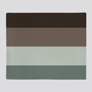 Sage Espresso brown Stripes Throw Blanket