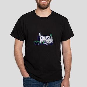 Semi Truck Rig Waving Cartoon T-Shirt