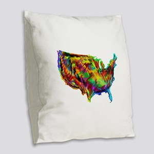 AMERICA Burlap Throw Pillow