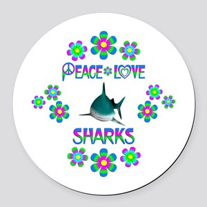 Peace Love Sharks Round Car Magnet