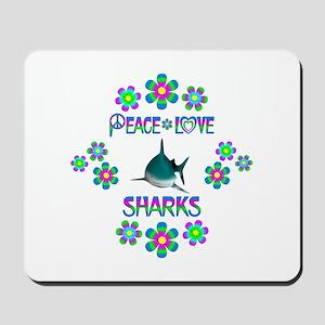 Peace Love Sharks Mousepad
