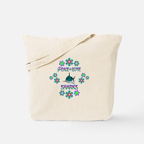 Peace Love Sharks Tote Bag