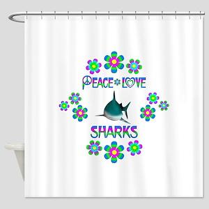 Peace Love Sharks Shower Curtain