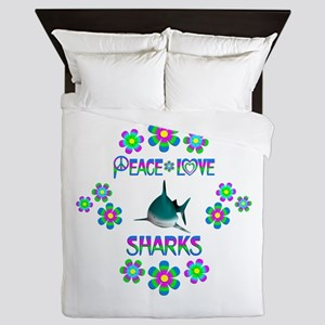 Peace Love Sharks Queen Duvet