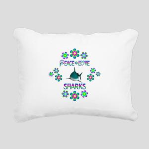 Peace Love Sharks Rectangular Canvas Pillow