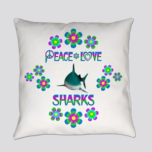 Peace Love Sharks Everyday Pillow
