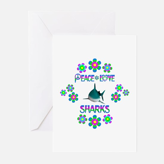 Peace Love Sharks Greeting Cards (Pk of 20)