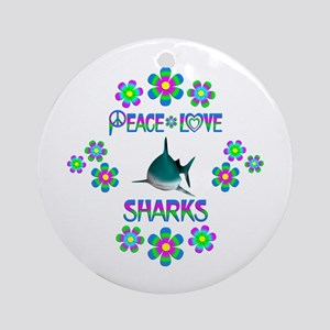 Peace Love Sharks Round Ornament
