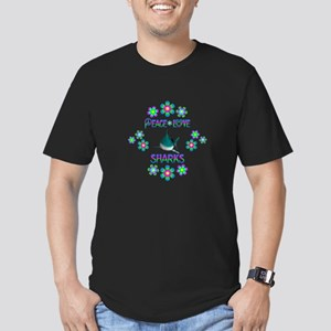 Peace Love Sharks Men's Fitted T-Shirt (dark)
