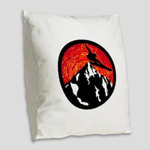 SNOWBOARDING Burlap Throw Pillow