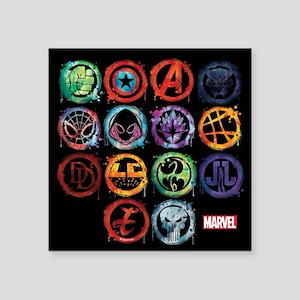 """Marvel All Splatter Icons Square Sticker 3"""" x 3"""""""