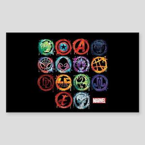 Marvel All Splatter Icons Sticker (Rectangle)