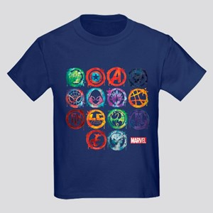 Marvel All Splatter Icons Kids Dark T-Shirt