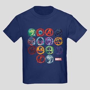 Marvel All Splatter Icons Kids Dark T-Shirt