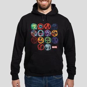 Marvel All Splatter Icons Hoodie (dark)