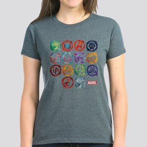 Marvel All Splatter Icons Women's Dark T-Shirt